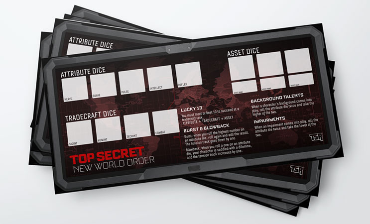 Player aid - dice mat for Top Secret NWO